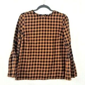 Plaid Fluted Bell Sleeve Blouse